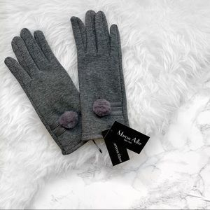Marcus Adler pompom touchscreen gloves gray NWT